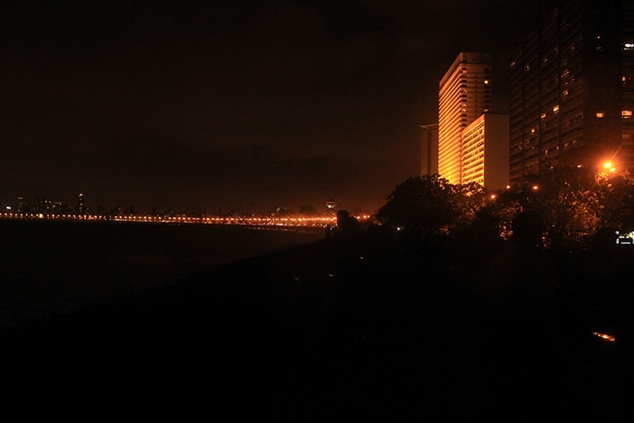City view from Marine drive mumbai at night