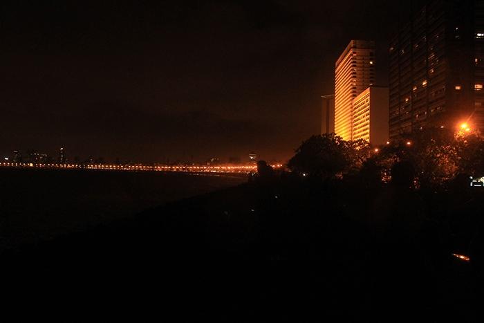 City view from Marine drive mumbai at night