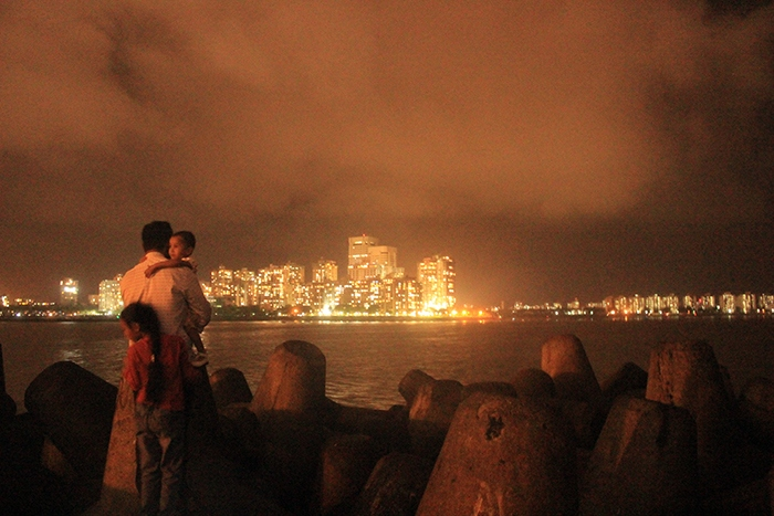 Bright Mumbai city at night from Marine drive