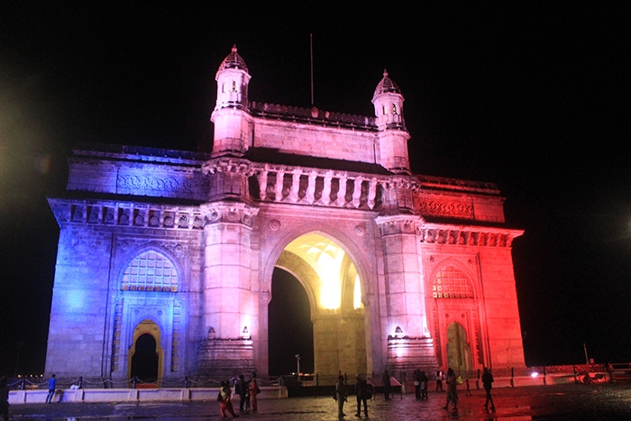 Gate way of India Mumbai  with French flag