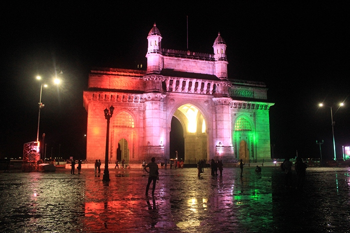 Gate way of India Mumbai with tiranga, Indian flag on it