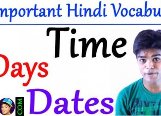 Common Hindi Vocabulary List on Time , Days & Dates